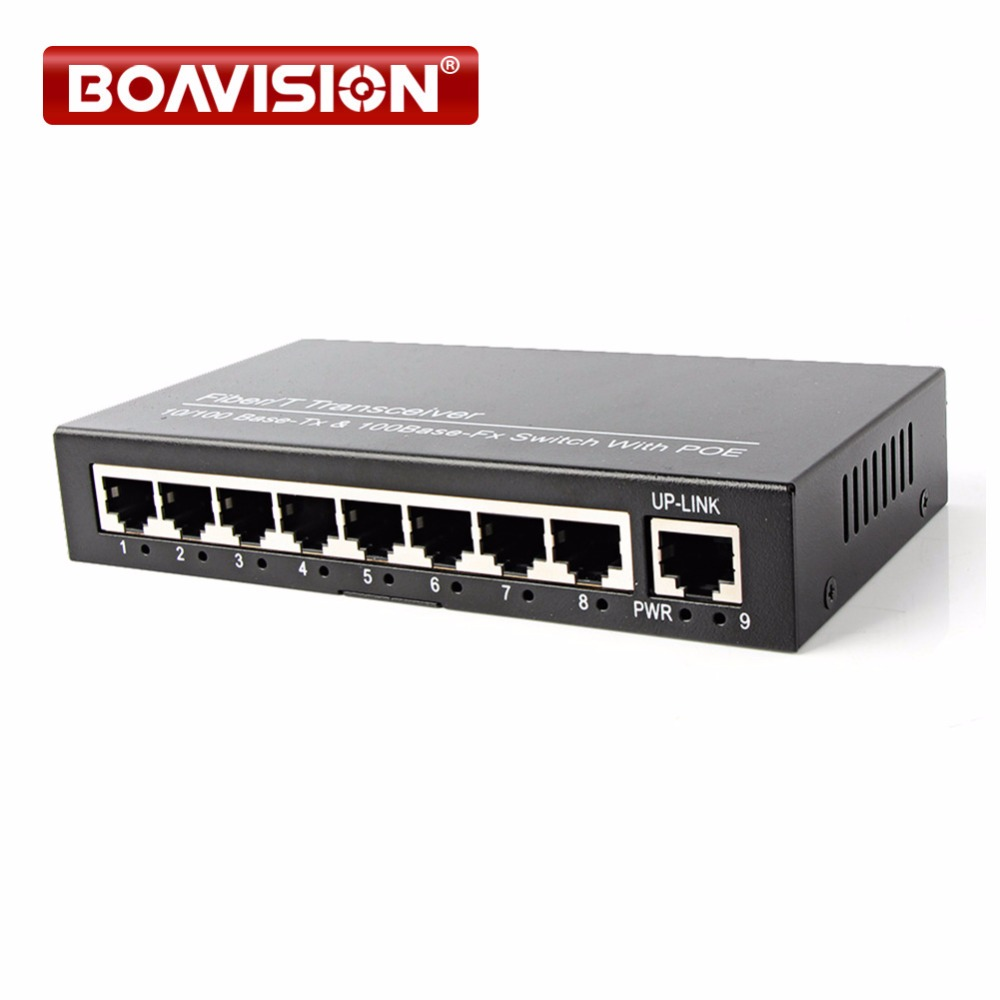 8 Ports PoE Switch 8Ch With 1 Port Desktop Fast Ethernet Switch 10/100Mbps Network IP Cameras Powered коммутатор tp link tl sf1008d 8 port 10 100m mini desktop switch 8 10 100m rj45 ports plastic case