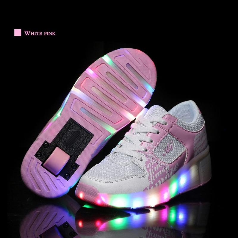 New Kids Shoes LED Roller Skating Shoes Children LED Light Up Single Wheels Roller Sports Shoes