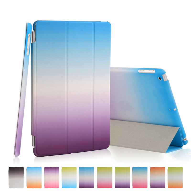 For Apple ipad 5 aie 1 Magnetic Auto Wake Up Sleep Flip Litchi Leather Case For ipad 5 air Cover Rainbow Smart Stand Holder case luxury litchi pattern smart leather cover for ipad 5 ipad air with retina sleep wake up with belt handhold stand skin pouch case