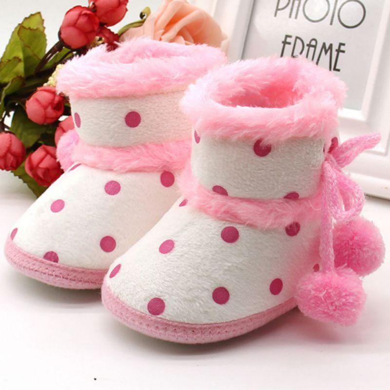 Kūdikių avalynė Žiemos batai Švelnios apatinės kūdikių mergaitės Mokasinas Kūdikių šilti batai Neslystantys įkrovikliai Karšta