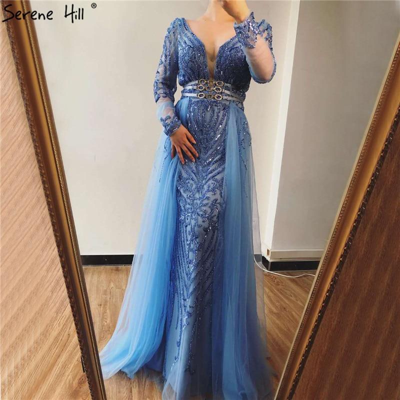 Blue Dubai Luxury Sequined Sparkle Evening Dresses Long Sleeve Beading Evening Gowns Serene Hill Plus Size LA60858