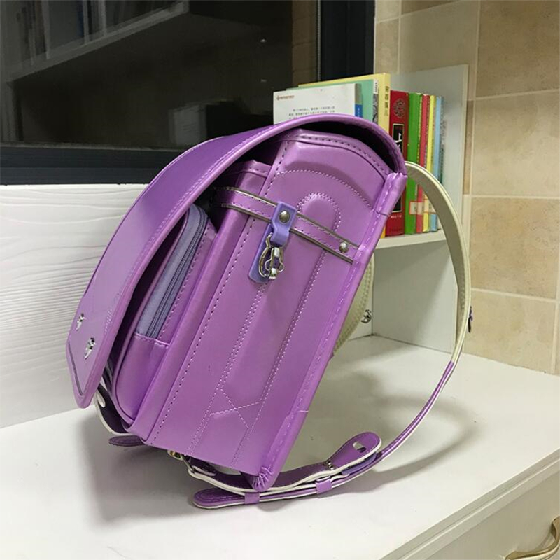 2019 NEW Japanese PU school bag Children's Backpacks For Girls boys Patent leather Orthopedic Backpack Love rivets kids book bag-in School Bags from Luggage & Bags    2