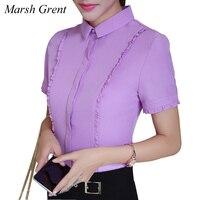 Plus Size S-4XL Women Short Sleeve White BLue Purple OL Blouse Fashion Summer Turn Down Collar Casual Chiffon Shirt Blusas