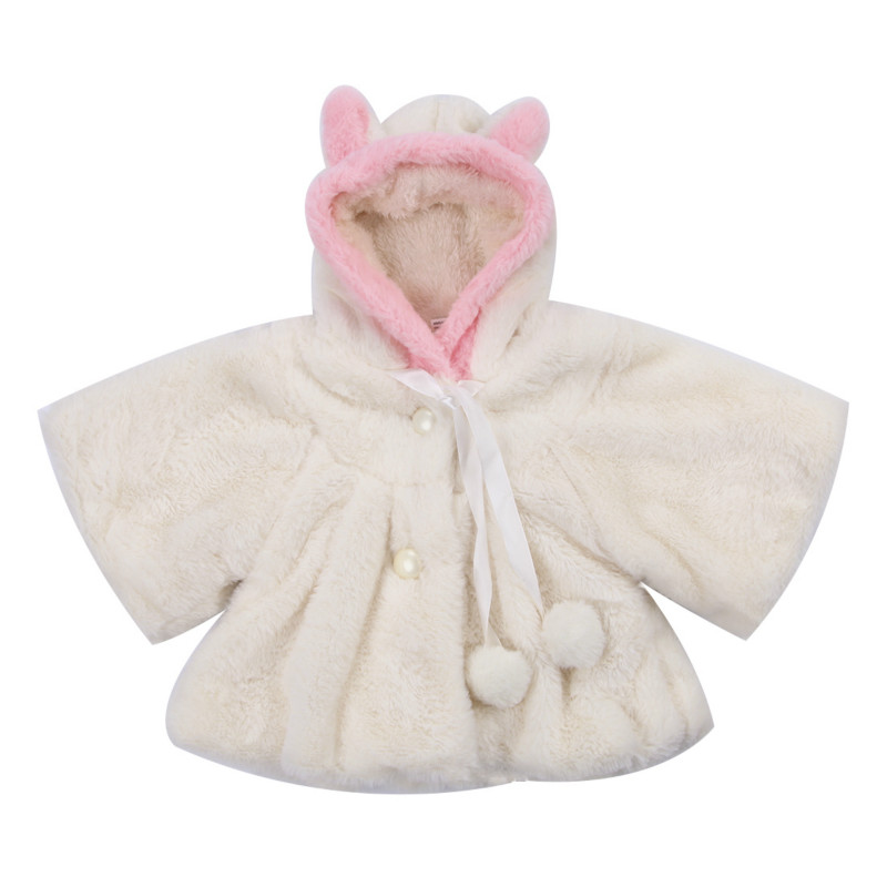 2017 Fashion New Cute Newborn Baby Toddler Girl Warm Fleece Winter 3D Ear Buttons Coat Snowsuits Jacket Cloak Soft Sweet Clothe