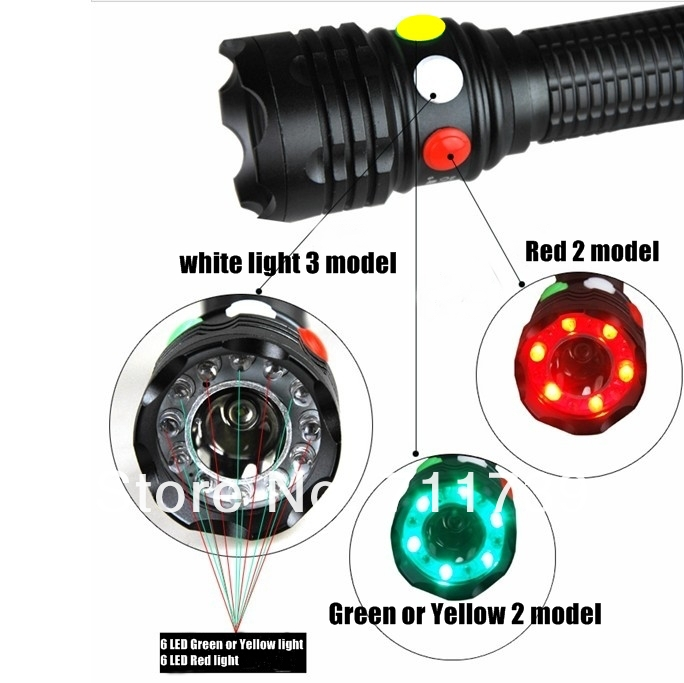 CREE Q5 LED signal light Yellow White Red Torch Bright light signal lamp For 1x18650 or 3 x AAA Battery Flashlight LED mini 8 led 30lm white light flashlight w 5mw red laser black 3 x aaa