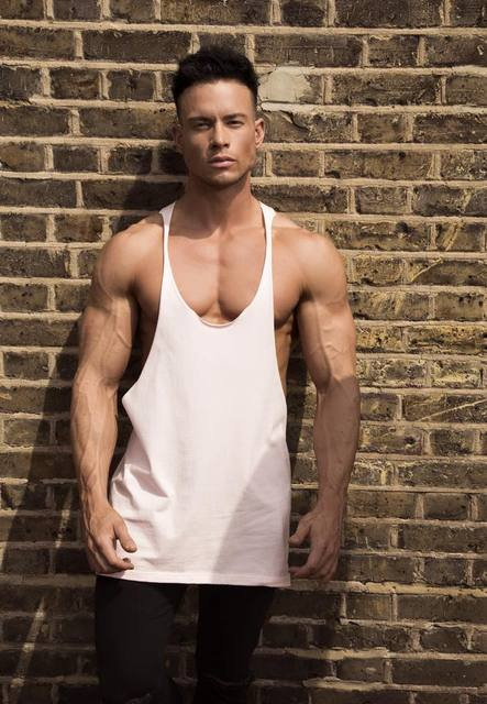 Men Y Back Workout Bodybuilding Tank Top Fitness Sport Vest Cotton Sleeveless Solid Color Shirt