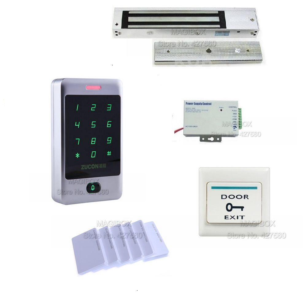Rainproof Door Access Control System Kit 280Kg Magnetic Lock+ Power Supply+ Switch
