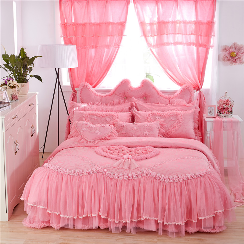 Pink Purple Lace Cotton Luxury Wedding Princess Bedding Set King Queen Twin Size Girls Duvet Cover Bed skirt set Pillowcase