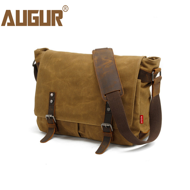 AUGUR Men s Messenger Bag Multifunction Canvas Leather Crossbody Bag Men  Military Army Vintage Large Shoulder Bag 766e81ef6bd32