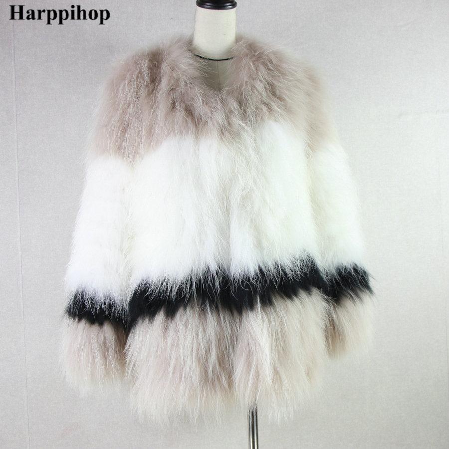 Renard Harppihop 100 Tricot De Réel Russe Ourwear Fourrure Veste Chaud Femmes Tricoté Hiver Véritable Manteau qIgqB