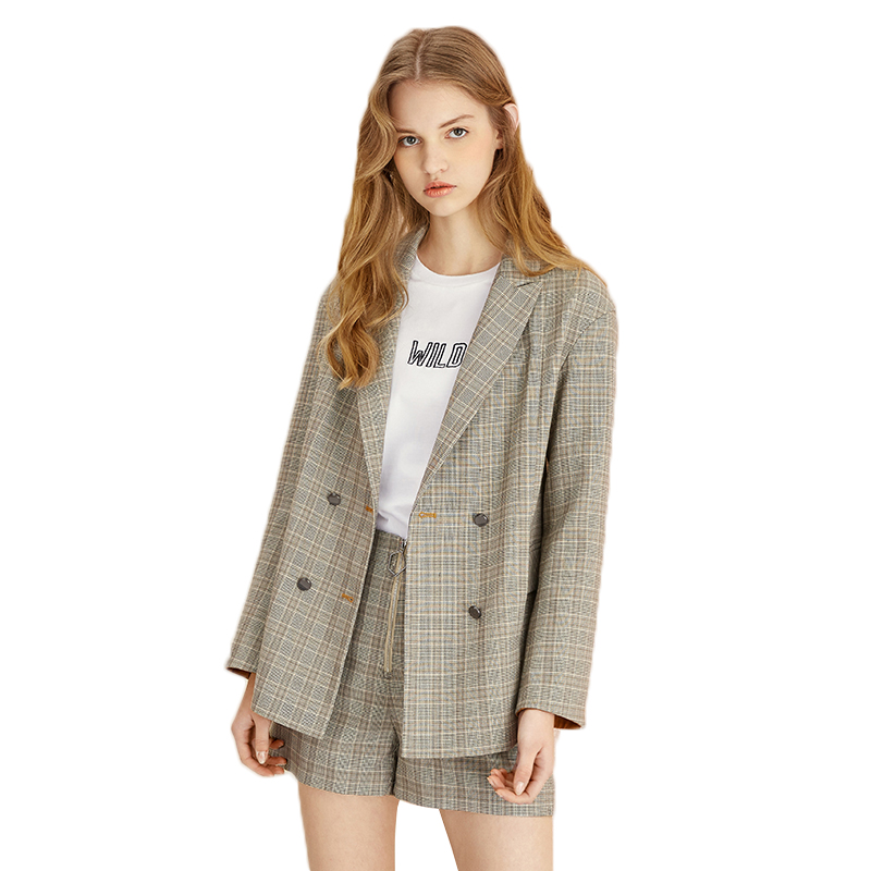 Women vintage plaid blazer casual suit blazer 2018 new high quality long sleeve OL work design office jacket spring outerwear
