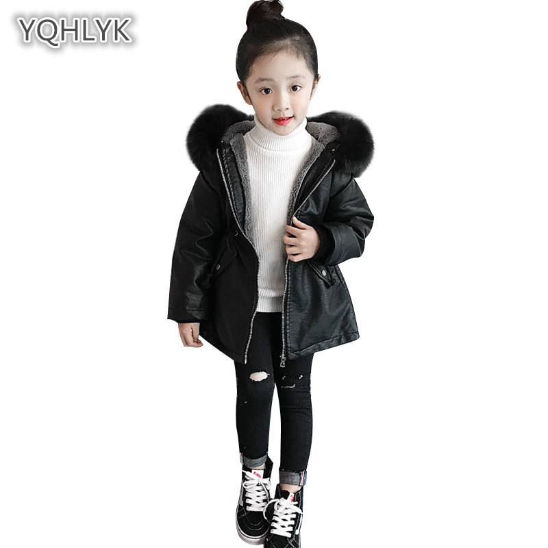 2018 new children winter girl leather coats fashion hooded warm cotton thick PU jacket long casual black girl Parkas Outerwear tlzc hooded design women coats size s 2xl 2017 new fashion lady warm parkas fit winter black green gray color woman parkas