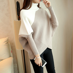 HAO HE SHEN suéter de invierno femenino suéter holgado cuello alto 2019 irregular coreano femenino suéter de respaldo abrigo grueso