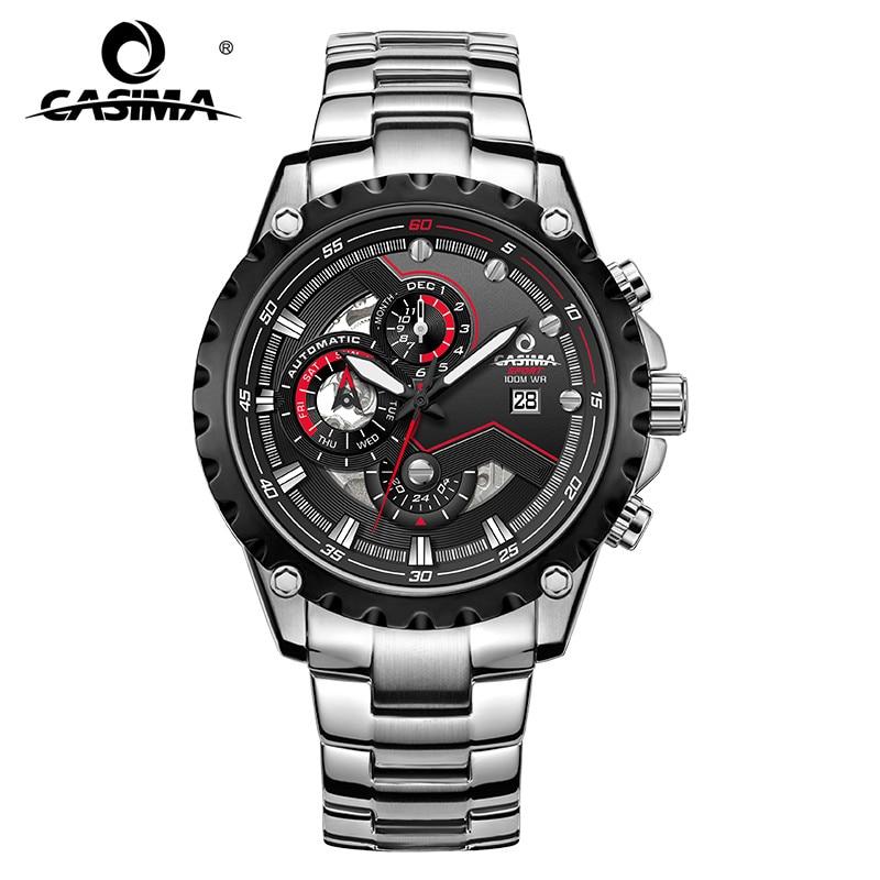 Luxury Brand Watch Multi-functional Mechanical Men's Watch Stopwatch Calendar Display Waterproof Men Wrist Watches 8211