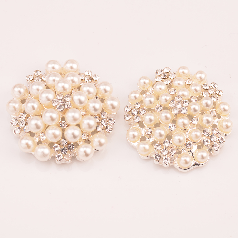 Rhinestone Pearl Embellishment Pearl Button Used On Invitation Card 25MM Silver Color Flat back 100pcs/lot