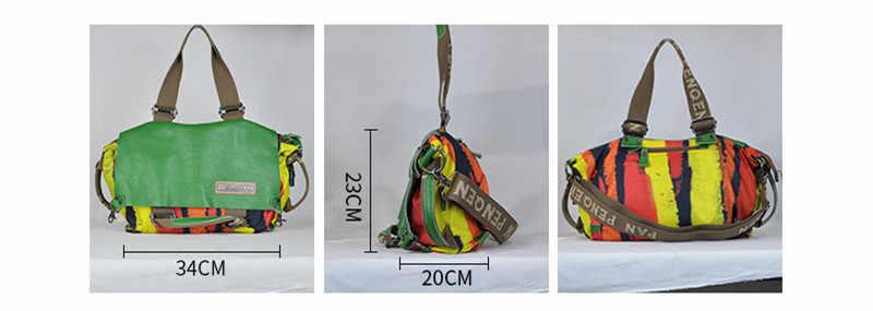 2020 新カジュアルオリジナルの女性のハンドバッグ本革キャンバス女性ポータブルクロスボディバッグ大容量ファッションショルダーバッグ