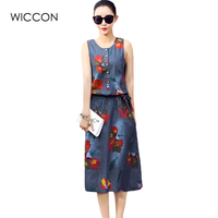 2017 Newest Elegant Print Summer Dress Women Ethnic O Neck Robe Elastic Denim Vestidos Fashion Vintage