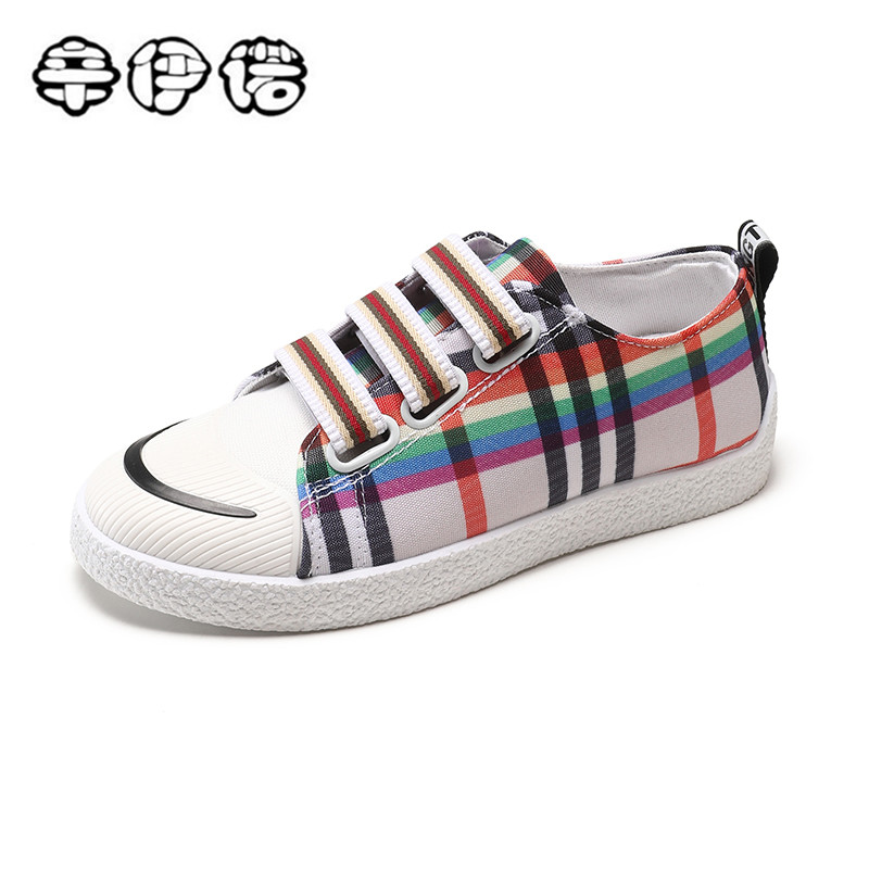 Classic Plaid Women Flat Canvas Shoes 2018 New Fashion Lace Up Student Board Shoes Ladies Casual Shoes Female Sneakers cheap