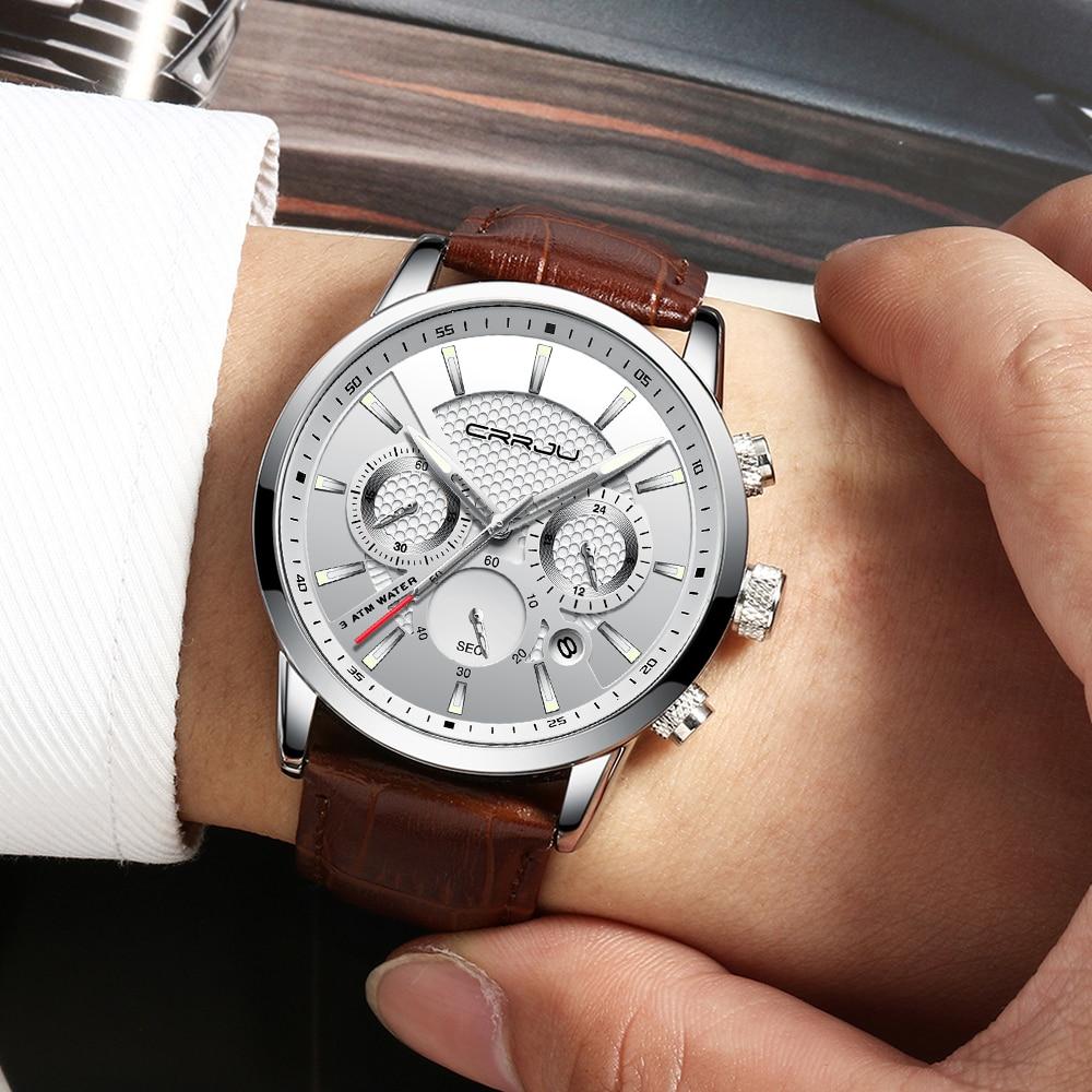 crrju new fashion men watches analog quartz wristwatches. Black Bedroom Furniture Sets. Home Design Ideas