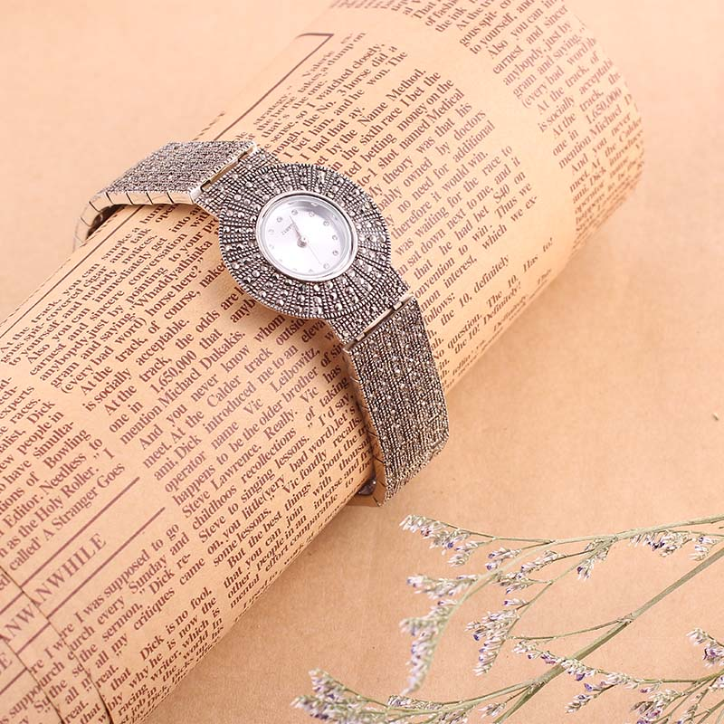 100% 925 Sterling Silver Quartz Watch Lady Luxury Thail Silver Wristwatch Female Bracelet Watch Silver Watch Woman