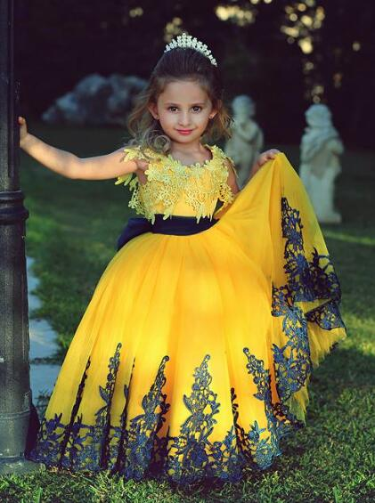 Yellow 2019   Flower     Girl     Dresses   For Weddings Ball Gown Cap Sleeves Tulle Lace Long First Communion   Dresses   For Little   Girls