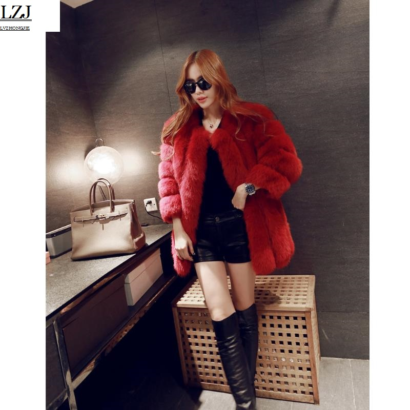 LZJ New 2017 Fashion Women Fur Coat High Quality Fox Patchwork Fur Coat Women Winter Warm Jacket Paka Imitation fur coat PC1