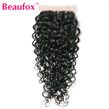 Beaufox Brazilian Water Wave Lace Closure 4×4 100% Human Hair Non-remy Free Part Medium Brown 8-20 Inches