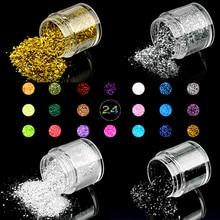 24 Colors Mixes Glitters and Hexagon Nail Sequins 10ml/bottle Glitter Mixed Art Manicure Dust LCN
