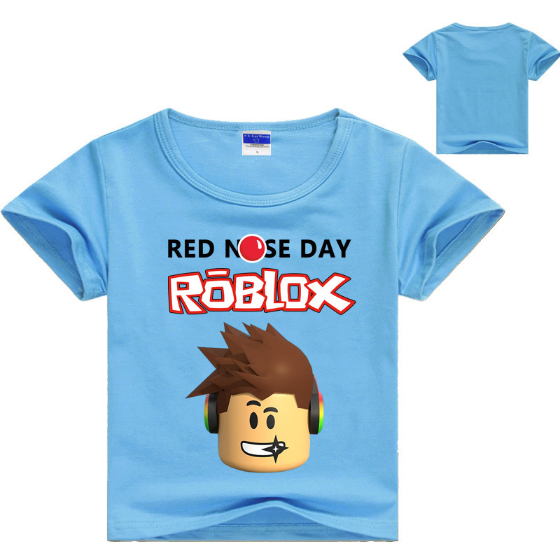Kids Summer Tshirt ROBLOX RED NOSE DAY clothing Tops Tees Short Sleeve T-shirt Girls Cartoon Clothes