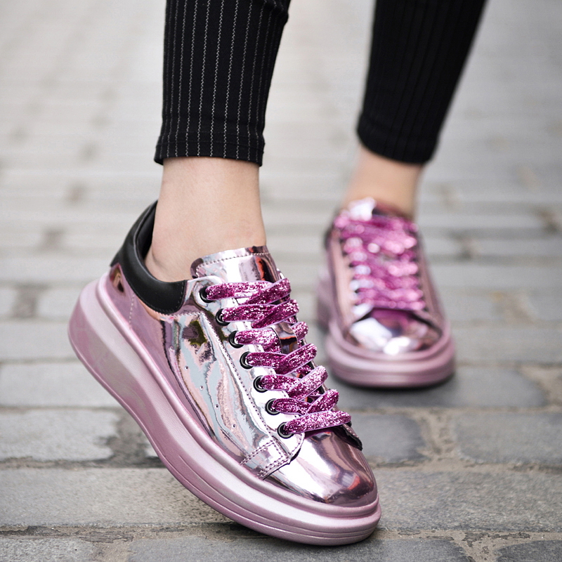 eofk pink casual walking shoes patent leather