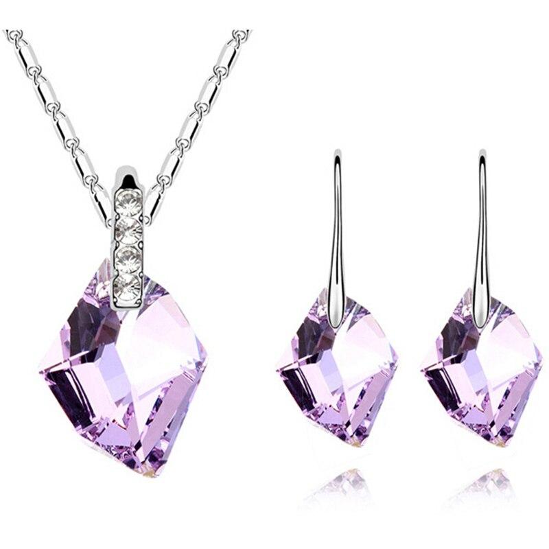 19570159c30f Violeta cristal austriaco collar Pendientes señora Niñas Juegos de joyería  mujeres Accesorios joyería para el Día de San Valentín 5 colores