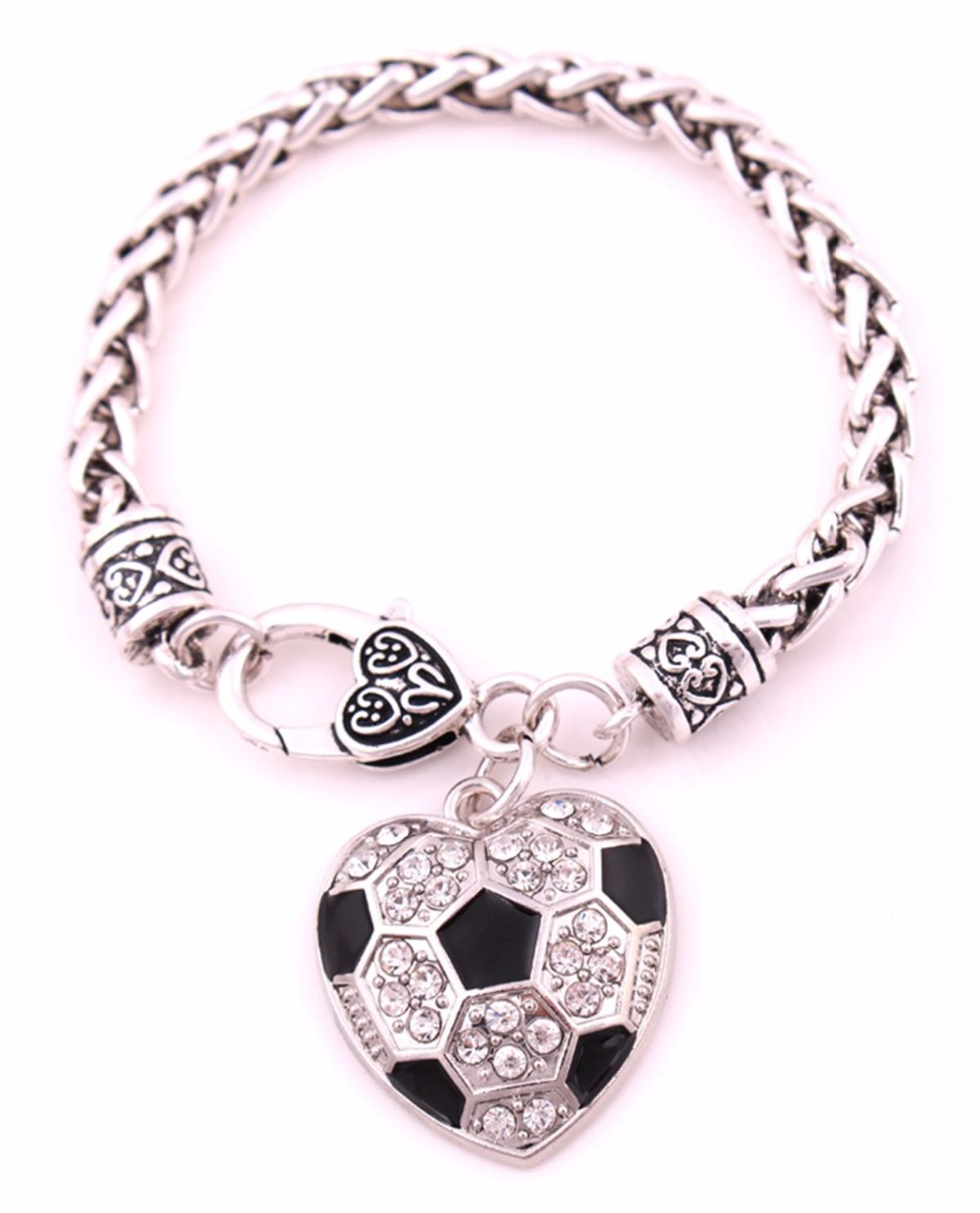 Hot Ing Antique Sliver Plated Studded With Sparkling Crystal Soccer Heart Charm Bracelet In Chain Link Bracelets From Jewelry Accessories On