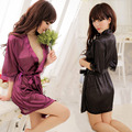 New Sexy Women Satin Lace Robe Sleepwear Nightdress 4 Colors Nightgowns Indoor Clothing Bathrobes negligee vetement