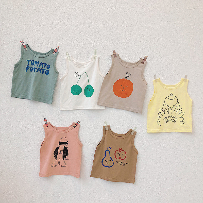 Girls T-Shirts Tops Toddler Kids Sleeveless Children Clothes Printed Baby Boys Cotton