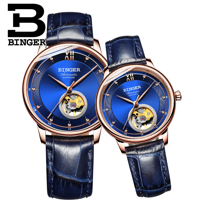 Noble Blue Leather Strap Wrist Watch Self-winding Lovers Automatic Watches Luxury Switzerland Brand Hollow Men Mechanical Watch