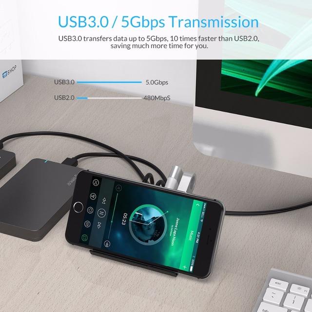 ORICO USB HUB High Speed Mini 4 ports USB2.0/USB3.0 HUB for Desktop Laptop with Phone and Tablet Holder -Black/White(SHC)