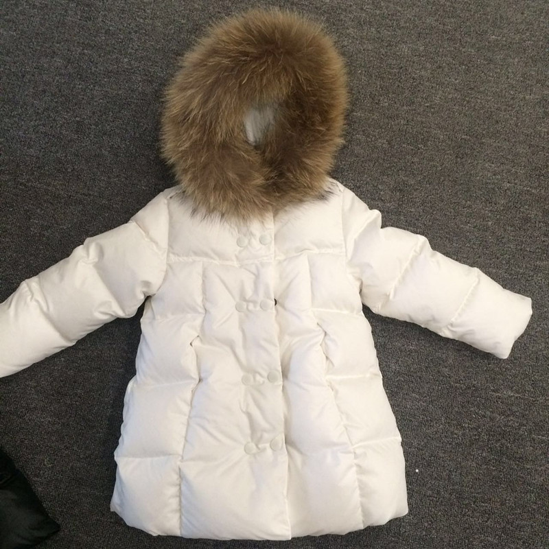 2017 Winter Russia Children Long Section Duck Down & Parkas Girls Down Jackets & Coats baby Winter Fur Collar Outwear -30 Degree 100% white duck down women coat fashion solid hooded fox fur detachable collar winter coats elegant long down coats