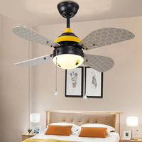 Art Deco LED Ceiling Fans light creative bee home lighting LED bedroom kids' room color changing fans lamps with remote control