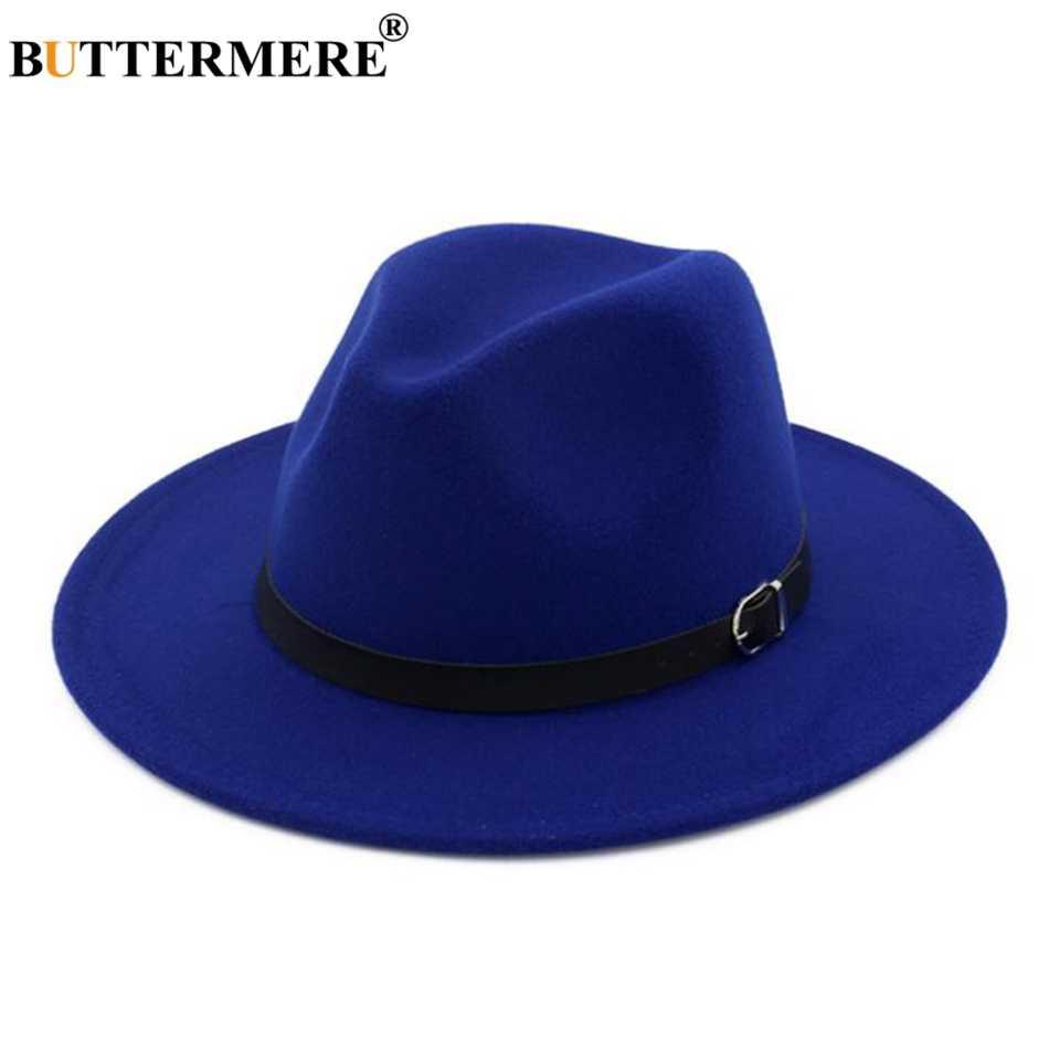 BUTTERMERE Winter Fedoras For Women Blue Wool Felt Hat Belt Female Wide  Brim Vintage Jazz Caps 2589ef5db03e