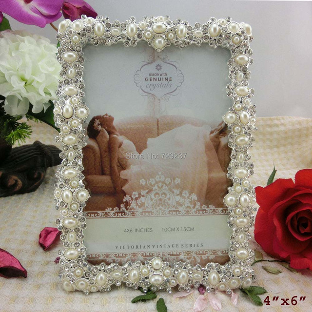 Antique Silver Pearls Metal Photo Frame Wedding Favors Handmade