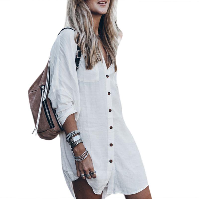 Womens Summer Spring Long Roll Up Sleeve Bikini Shirt Dress Loose Deep V-Neck Button Down Asymmetric Hem Blouse Swimsuit Cover U