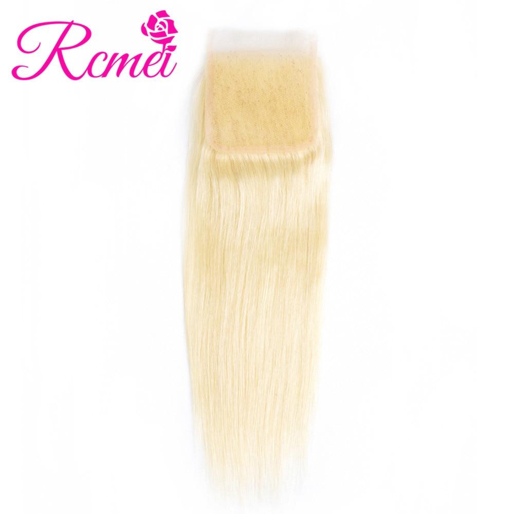 613 блондинку прямо Кружева Закрытие 4*4 свободная часть бразильский человеческих волос застежка отбеленные узлы с ребенком волос прозрачный...