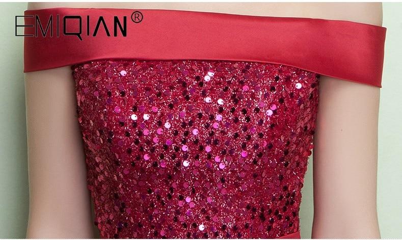 NEW Designer Burgundy Sequin Formal Prom Party Dress Lace-up Back Tea Length Evening Dresses Robe De Soiree