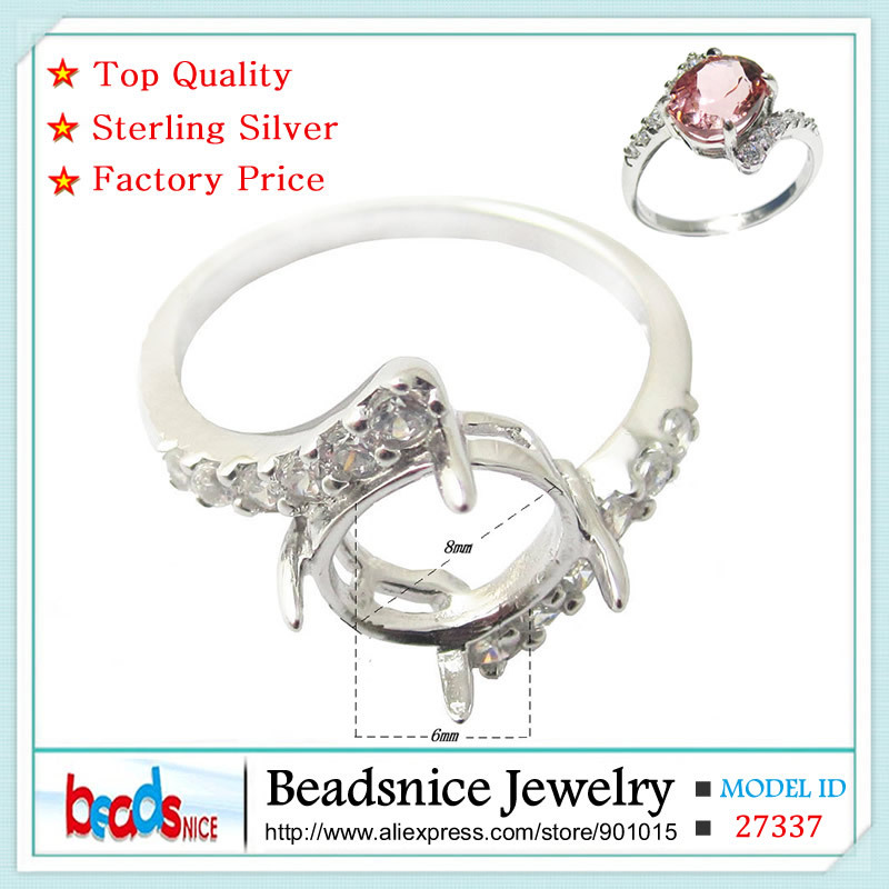 Beadsnice ID27337 wholesale 925 sterling silver ring elegant wedding ring fine jewelry diy oval semi mount ring settings for her