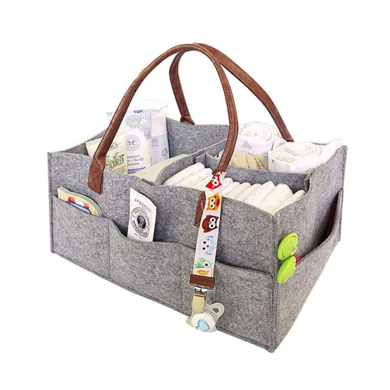Baby Diaper Organizer Foldable Felt Storage Bag Portable Multi-function Changeable CompartMants For Mom Newborn Kids Nappies