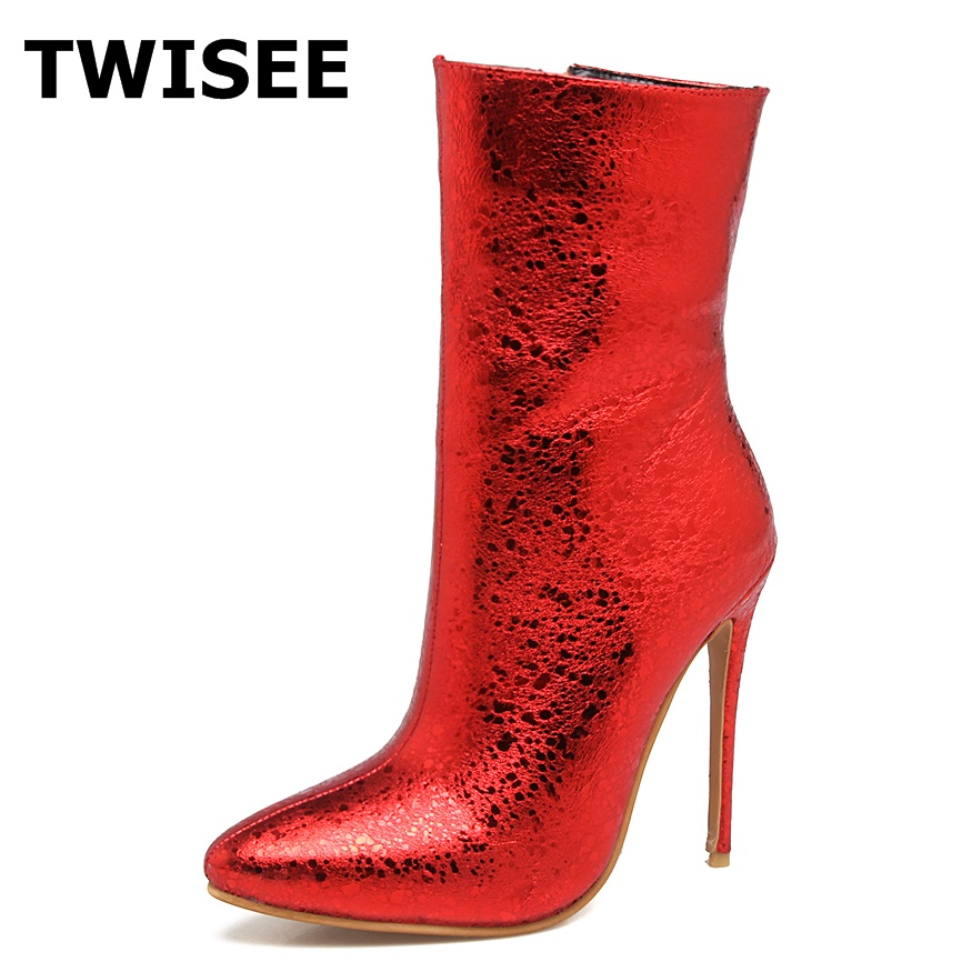 TWISEE winter women fashion sexy thigh high ankle mid-calf Boots pointed toe zip Boots Heel Height 12cm botas mujer size43 double buckle cross straps mid calf boots
