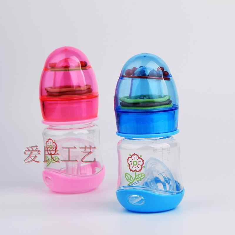 80ml BPA ฟรีไม่มีกลิ่นขวดนมนมเด็กขวดนมขวดนมทารกแรกเกิดกับ Rattles