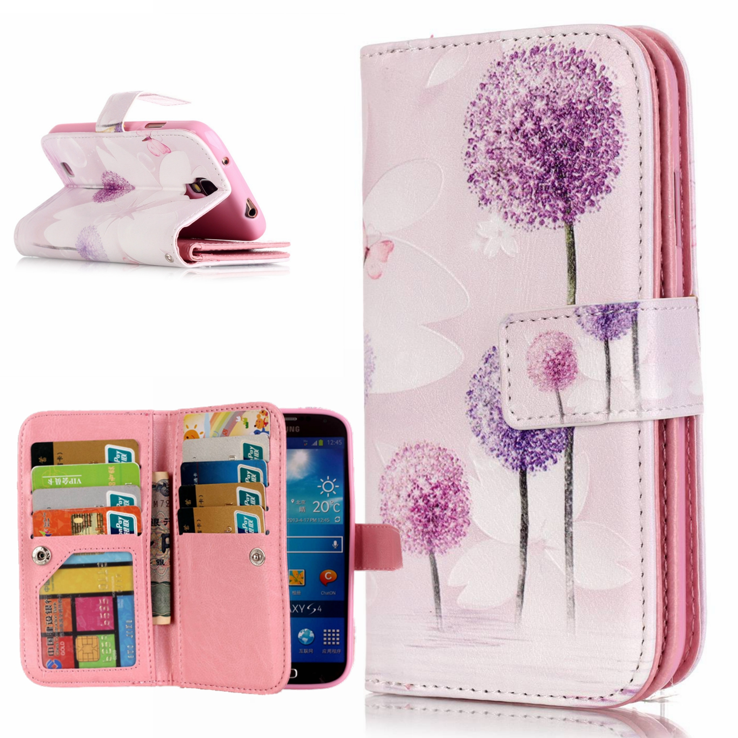 9 Card Holder Wallet Case For Samsung Galaxy S4 I9500 Luxury PU Leather Flip Phone Cases for Samsung Galxy S IV 4 Celular Funda image