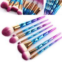 7pcs Makeup Brushes Set Diamond Rainbow Handle Cosmetic Foundation Eyshadow Blusher Powder Blending Brush Beauty Tools