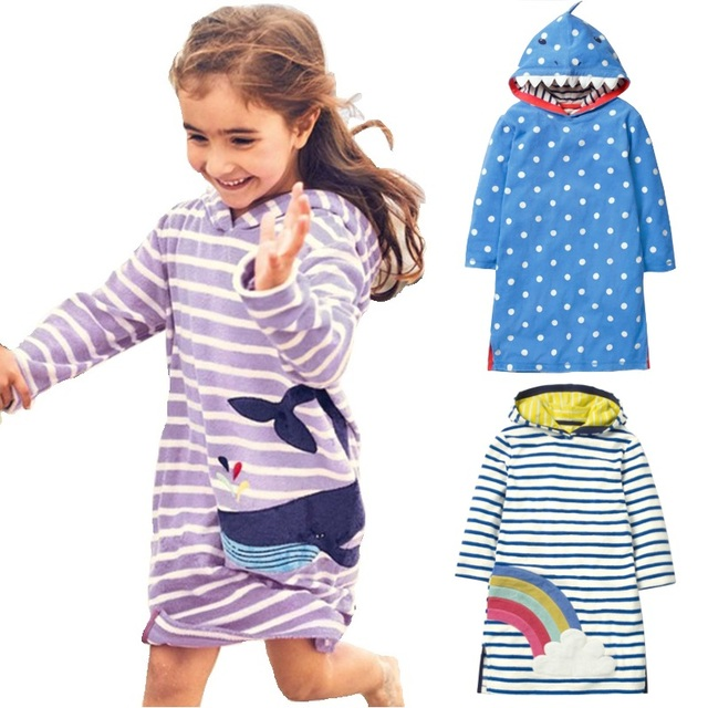 18bf49d8bdc6 Hooded Baby Girl One piece Dress Whale Shark Children Dresses Autumn ...